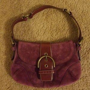 Coach Suede Purple & Maroon Handbag